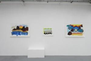 « Paysage et soleil couchant », 2013, gouache sur papier, 80 x 120 cm – « Paysage », 2014, gouache sur papier, 50 x 65 cm – « Paysage ensoleillé », 2012, gouache sur papier, 80 x 120 cm