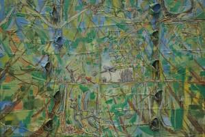«Autoportrait», 2014, huile sur chemises sur toile, 200 x 300 cm