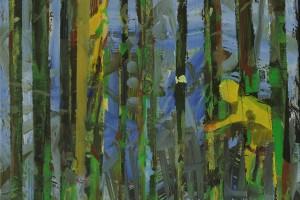 « La forêt qui cache l'arbre (anorak) », 2014, huile sur toile et métal, 52 x 42 cm