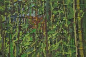 «Les orties (Cabane)», 2014, huile sur toile et corde, 30 x 40 cm