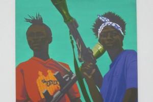 Bernard Rancillac – « Les machos de Monrovia », 2005, acrylique sur toile, 195 x 130 cm