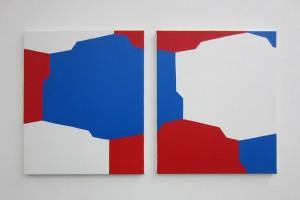 Traces-formes, 2012, acrylique sur toile, 55 x 46 cm