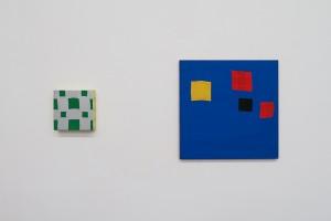 Sans titre, 2000, acrylique sur tissu, 50 x 50 cm / Sans titre, 1999, acrylique sur tissu, 20 x 20 cm