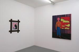 Daniel Schlier – Petit noir avec oiseau (fond rose), 2013 peinture sous verre, 40 x 30 cm / Benjamin Swaim – Peintre, 2006 huile sur toile, 146 x 114 cm
