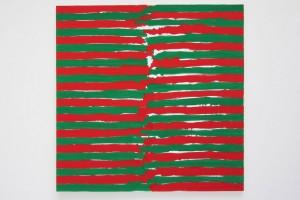 En regardant à gauche à la main droite, en regardant à droite à la main gauche, nov. 1988, peinture vinylique sur toile, 140 x 140 cm