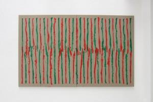 En regardant en haut puis en bas peint main droite, 2012, peinture vinylique sur toile – diptyque 195 x 320 cm