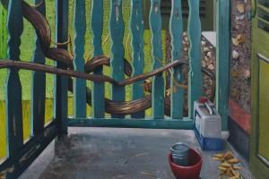 Du monde au balcon, 2016, huile sur toile, 146 x 114 cm