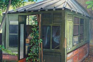 Green cube, 2014, huile sur toile, 260 x 180 cm