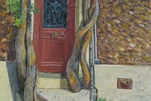 La porte rouge, 2017, huile sur toile, '§ x 36 cm