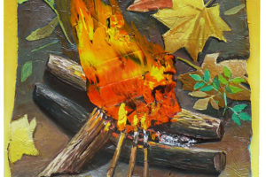 Flamme, 2018, huile sur toile, 48 x 38 cm