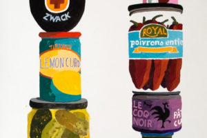 Épicerie du monde (La Morena), 2018, gouache sur papier, 111 x 40 cm