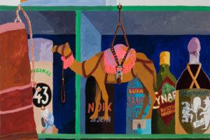 Épicerie du monde (Les copains), 2018, gouache sur papier, 81 x 61 cm