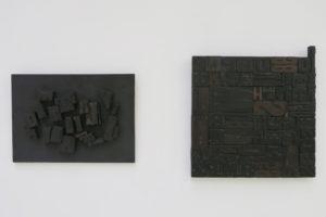 Relief, 1963 , assemblage de caractères d'imprimerie en bois sur support bois, 35,5 x 49,5 x 4 cm / Relief, 1962, assemblage de caractères d'imprimerie en bois 52,5 x 49 cm