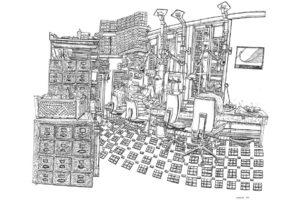 Graineterie, Simon, Alexis et Olivier, réserve du Muséum national d'histoire naturelle, 5.2.2019, encre de Chine sur papier, 50 x 65 cm