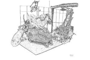 Lionne attaquant un oryx, éléphants, requin pèlerin, raie manta, deux girafes et crocodile, Hangar Taxidermie, réserve du Muséum national d'histoire naturelle, 21.03.2019, encre de Chine sur papier, 50 x 65 cm