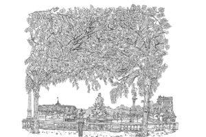 Jardin des Tuileries, Paris, 12.5.2019, encre de Chine sur papier, 50 x 65 cm