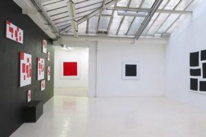 Original – 2019 / Carré rouge – 2019, acrylique sur tissu, 160 x 160 cm / Carré noir – 2019, acrylique sur tissu, 100 x 100 cm / Séquence – 2018, acrylique sur tissu, 180 x 160 cm
