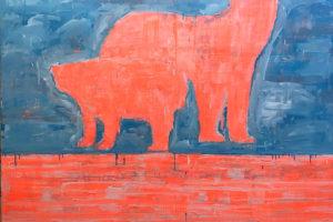 « Fluo Pink Bear » – 2019, huile sur toile, 180 x 160 cm
