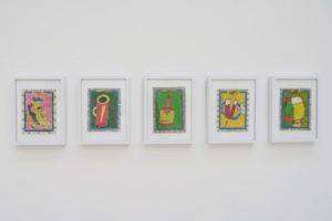 * Frédéric Bruly Bouabré : La vache qui rit / Nespresso / Maggi arôme / Buvons à notre santé / Kronembourg / Grande Champagne, 2011, crayon couleur et stylo bille sur carton, 15 x 10,5 cm