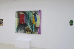 Géométrie (46 x 38 cm) / Staircaise-e (140 x 170 cm) / Onopordum acanthium (22 x 14 cm), 2020, huile sur toile